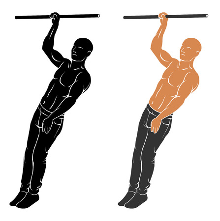 calisthenics: Vector illustration of man performing one hand pull up Illustration