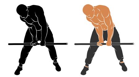 Vector illustration of man on gym bar