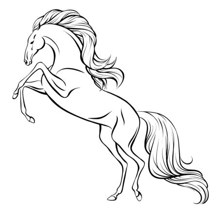 Outline drawing of a rearing horse with long mane and tail.