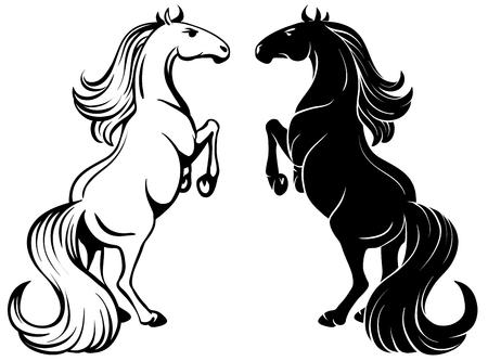dessin au trait: dessin isolé d'un cheval de cabrer - contour et silhouette