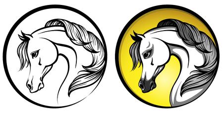 Arabischer Pferdekopf in einem Kreis - Entwurf und auf einem gelben Hintergrund Standard-Bild - 73170044