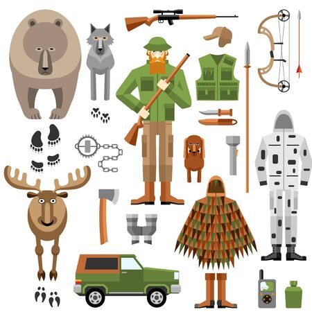 bear trap: Hunter equipment flat icons set, weapons, camouflage and animals