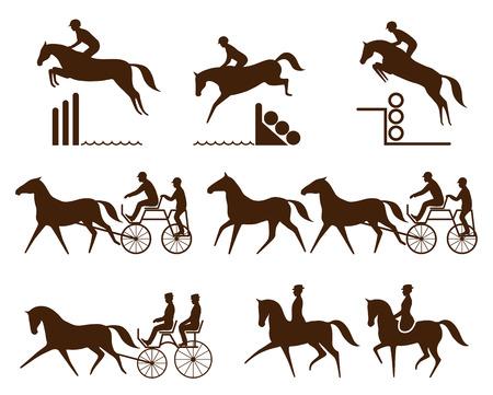 Conjunto de logotipo ecuestre - evento, conducción, para Doma clásica