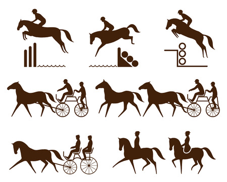 Zestaw logo jeździec - impreza, jazda, para ujeżdżenie