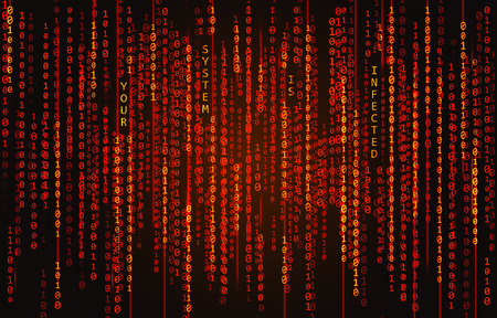 Binary code background with text Your System Is Infected