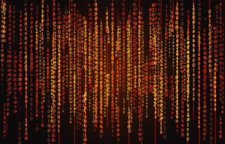 Red neon binary code on a black background Illustration