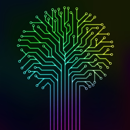 Circuit printed board in the shape of a tree with multicolor neon lines