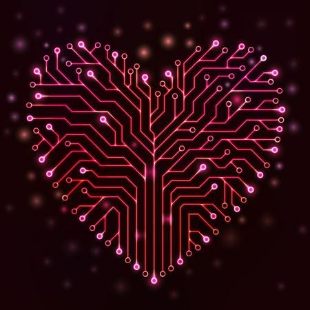 Circuit printplaat in de vorm van een hart met rode neonlichten