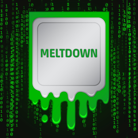 Meltdown vulnerability concept on a binary code background.