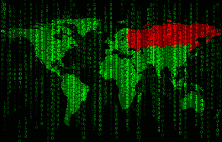Green binary code background with world map and Russia Ilustração