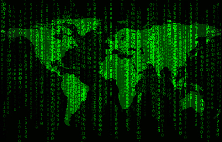 Green binary code background with world map Illustration