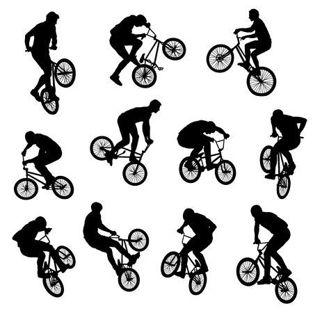 Set of 11 extreme BMX tricks isolated silhouettes