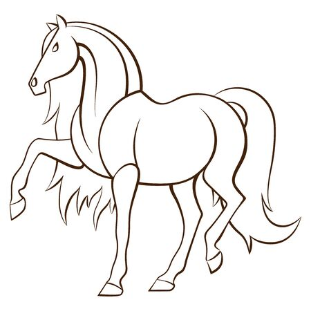 Stylized outlined horse performing piaffe 矢量图像