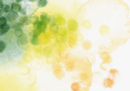 Watercolor background - green, yellow and orange colors