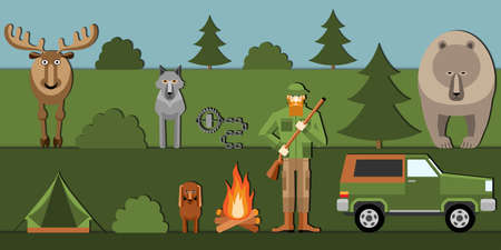Hunter and animals in the forest Stock Illustratie