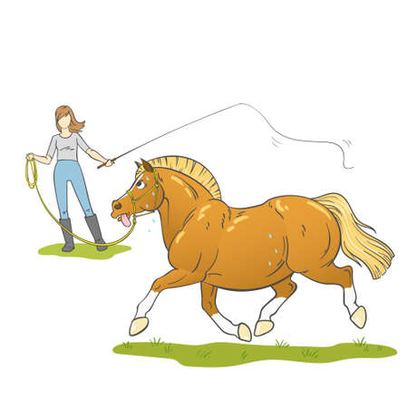 Illustration of a young woman lunging an overweight pony