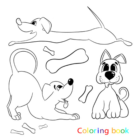 Coloring book for children includes three different dogs. For a good time spending and developing children Illustration