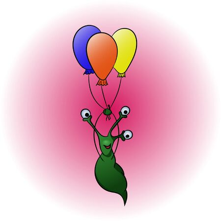 Flying happy funny alien with best wishes. Original illustration to holidays and congratulations.