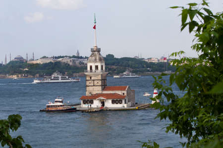 constantinople ancient: Maidens Tower Leanders Tower in Istanbul Editorial