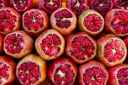 grocer: Pomegranate. Pomegranate at a market place Stock Photo