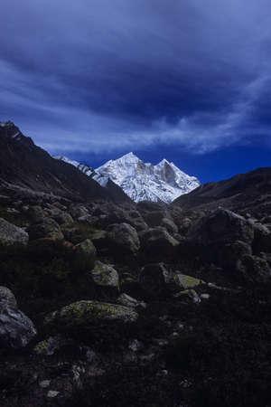 rockclimber: Bhagirathi Peak, Garhwal Himalayas, Uttarakhand, India-13 December, 2006: Snow Covered Bhagirathi Peak in Garhwal Himalayas in Uttarakhand, India.Bhagirathi are a group of three peaks namely Bhagirathi-I (6856), Bhagirathi-II (6512 m) and Bhagirathi-III (