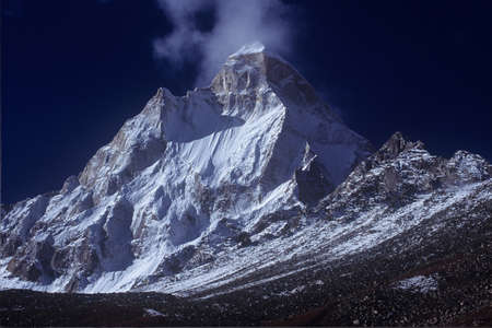 Shiv Ling Peak, Garhwal Himalayas, Uttarakhand, India: 13 December, 2006: Shiv Ling Peak at Tapovan in Western Himalayas, Uttarakhand, India.Shivling is a mountain at Tapovan in the Gangotri Group of Peaks in the western Garhwal  Himalayas, near snout of