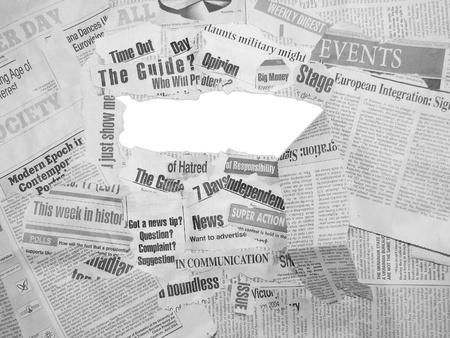 Collage fait de journaux et de titres