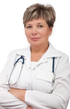 mani incrociate: Coppia in piedi donna medico con le mani incrociate