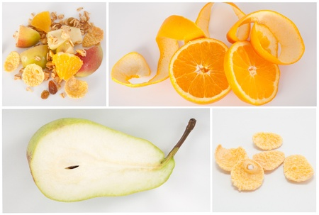 Healthy food collage with oranges, pear, muesli and cereal Stock Photo - 10900109