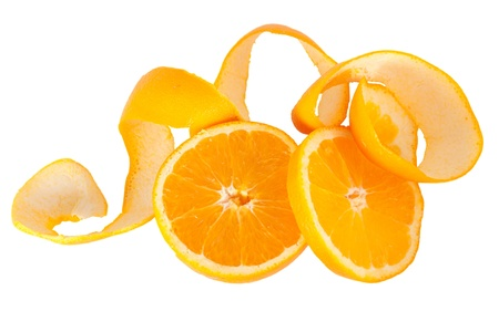 Juicy oranges slices and peel