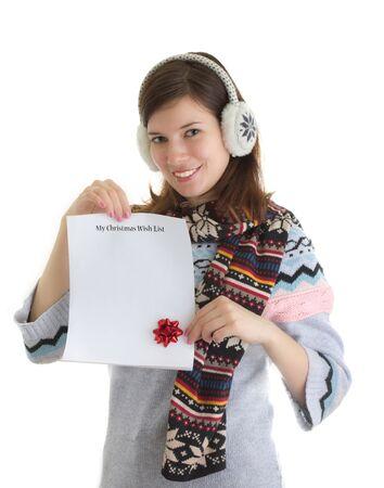 wishlist: Girl holding her Christmas wishlist