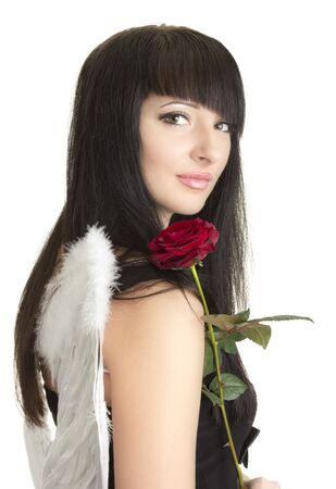 Beautiful angel woman with rose photo
