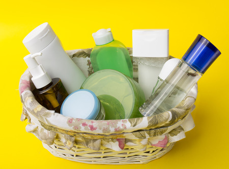 Basket full of skin care products