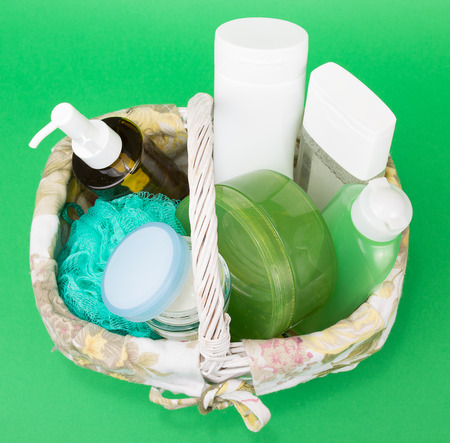 Basket full of skin care products 免版税图像