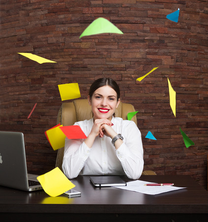 Beautiful business lady in office Stockfoto