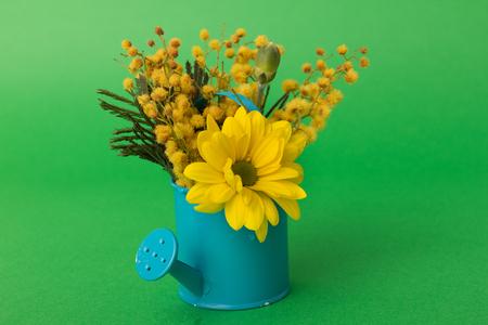 watering pot: Spring flowers in blue vintage watering pot