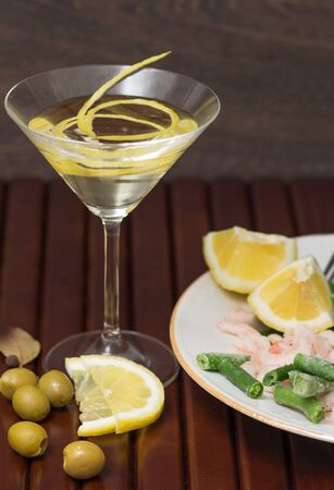vermouth: Seafood, asparagus and a glass of vermouth