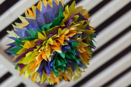 pom poms: Colorful tissue paper pom poms in home design