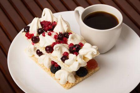 Berries and ice cream desert with coffee Archivio Fotografico