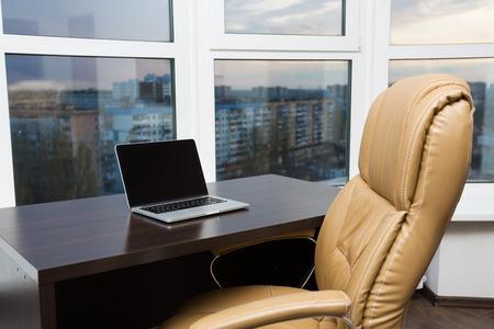panoramic windows: Modern office interior with panoramic windows view