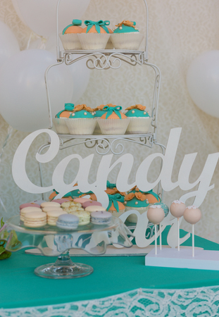 food buffet: Cute candy bar with various candies and cakes Stock Photo