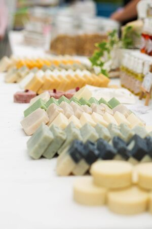 hand made: Hand made soap at the street market Stock Photo