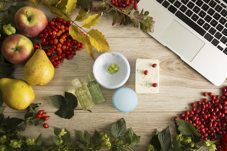 Fruits, berries and autumn skin care essentials
