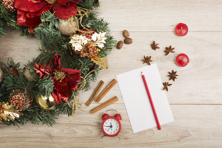 envelope decoration: Christmas decor and holiday greetings on a wooden background Stock Photo
