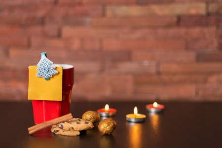 christmas decor: Cup of coffee, cookies and Christmas decor Stock Photo