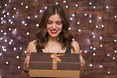 happy holidays: Beautiful woman having fun at the party Stock Photo
