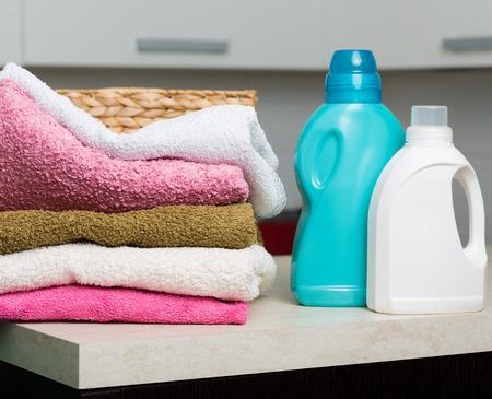 detersivi: Clean towels, basket and various washing detergents