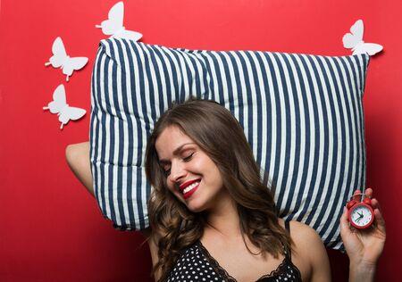 striped pajamas: Beautiful woman in pajamas cami top Stock Photo