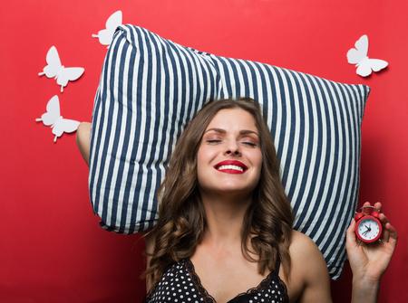 pillow case: Beautiful woman in pajamas cami top Stock Photo