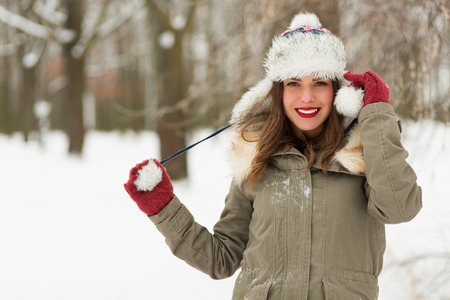 winter park: Happy woman in the winter park